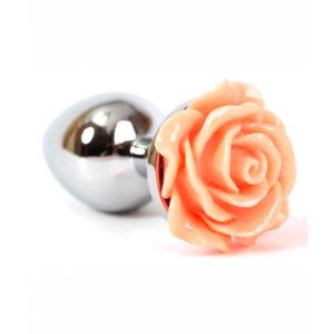 Купить Анальная пробка металлическая с розой цвета лосось, серебристая – 47182 в интернет магазине интимных товаров JoyToy