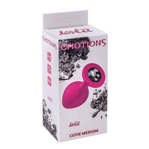 Купить Анальная пробка Lola Toys – Emotions – Cutie Medium – Pink – Black Crystal, розовая – 4012-01 в интернет магазине интимных товаров JoyToy