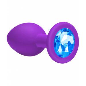 Купить Анальная пробка из силикона с синим стразом, фиолетовая – 47081 в интернет магазине интимных товаров JoyToy